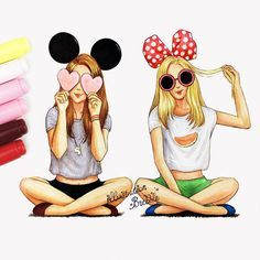 illustration, minnie, mouse, BFF, colours, drawings, cool, friends