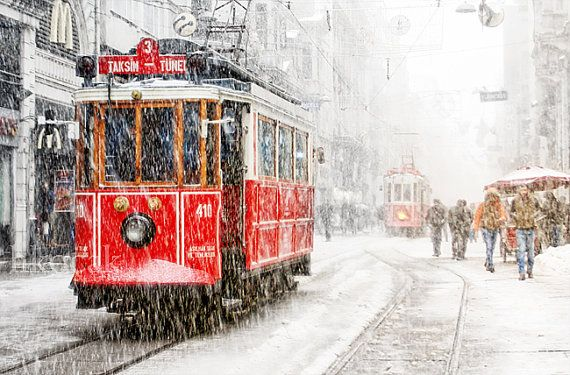Wall decor  Tram photography istanbul photography winter by gonulk, $50.00