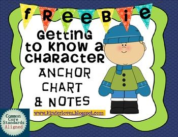 Getting To Know A Character Anchor Chart and Notes FREEBIE