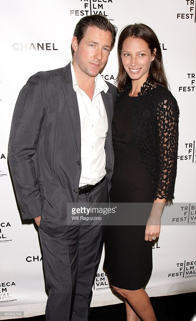 Actor Edward Burns and model Christy Turlington attend the Chanel Tribeca Film Festival Dinner held at Ago at the Greenwich Hotel during the 2008 Tribeca Film Festival on April 28, 2008 in New York City.