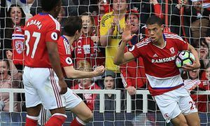 March 19th 2017: Middlesbrough's French striker Rudy Gestede (R) turns to celebrate after scoring against Manchester United at the Riverside