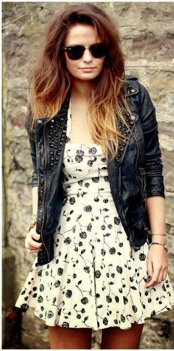 A Dress and Leather Jacket--a little more length and some dark tights would make this just right for me