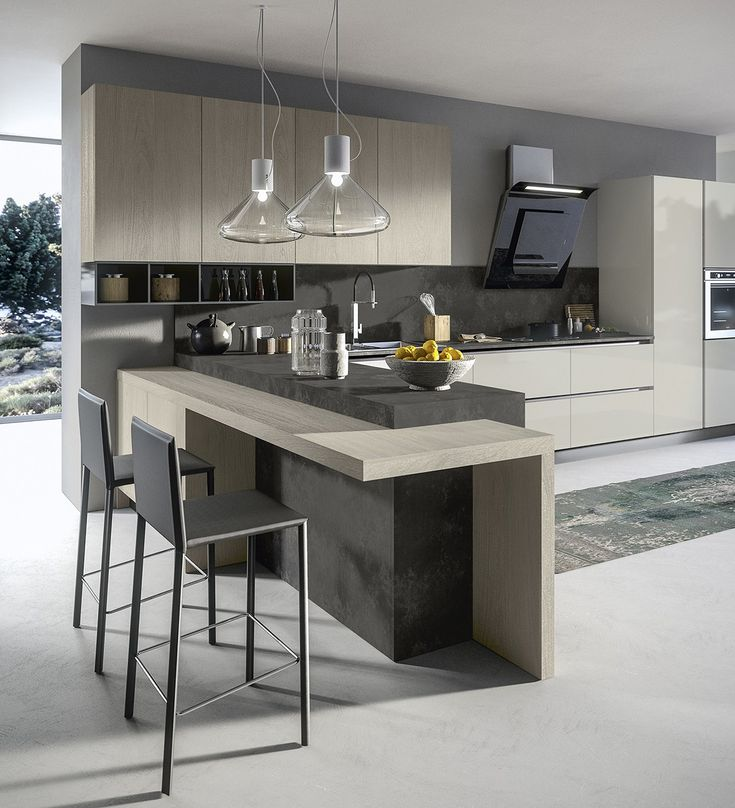 American style fitted kitchen with island with handles ROUND by ARREDO 3