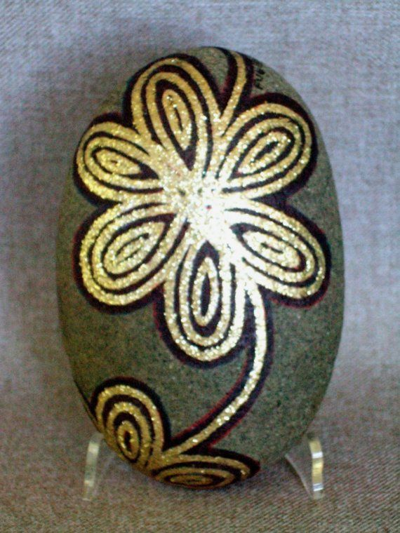 Unique 3 D Art Hand Painted Rock Gold Floral Design by IshiGallery, $150.00