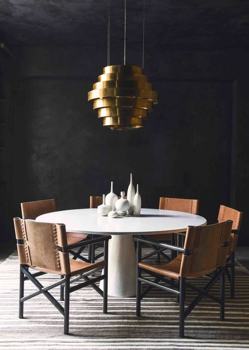 round dining table with leather chairs