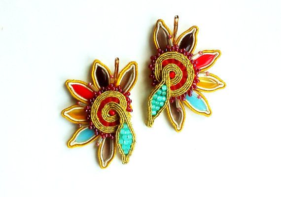 Soutache earrings / handmade jewelry / embroidery / flower earrings / autymn flowers