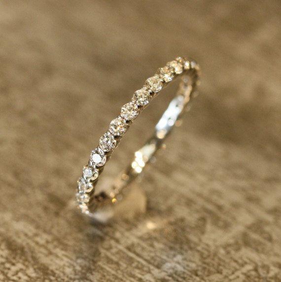 Eternity Diamond Wedding Band in 14k White Gold by LaMoreDesign