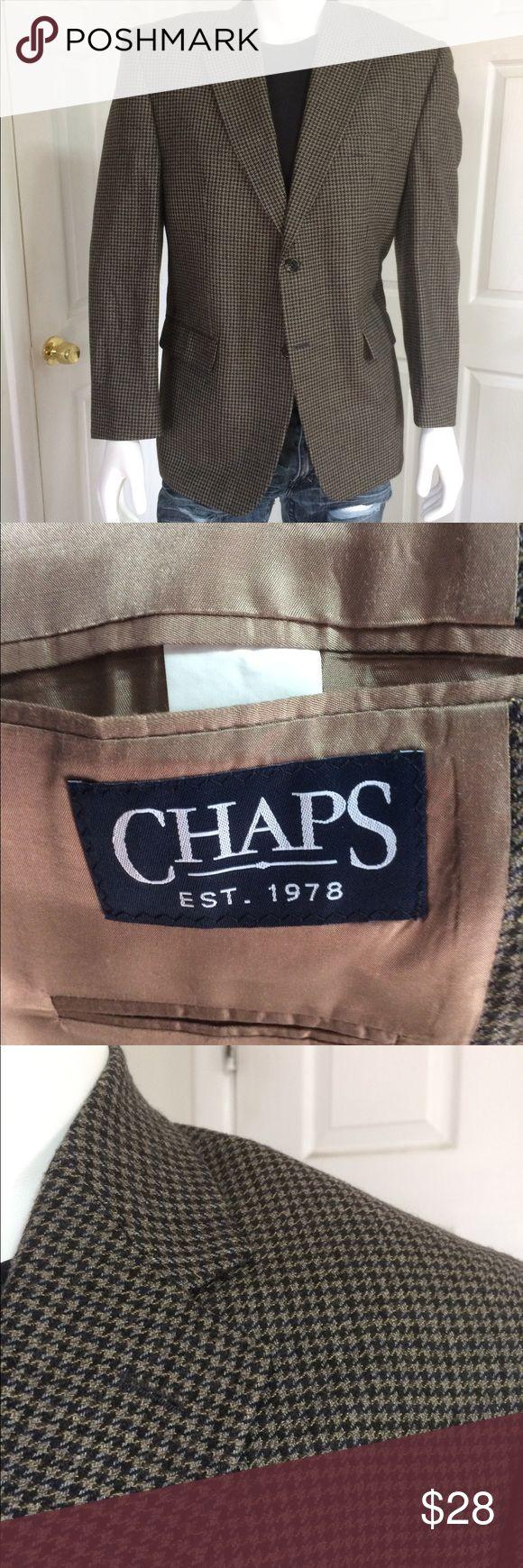 Chaps Ralph Lauren houndstooth beige blazer 44R 100% Lambs Wool Chaps Ralph Lauren houndstooth beige blazer 44R Chaps Suits & Blazers Sport Coats & Blazers