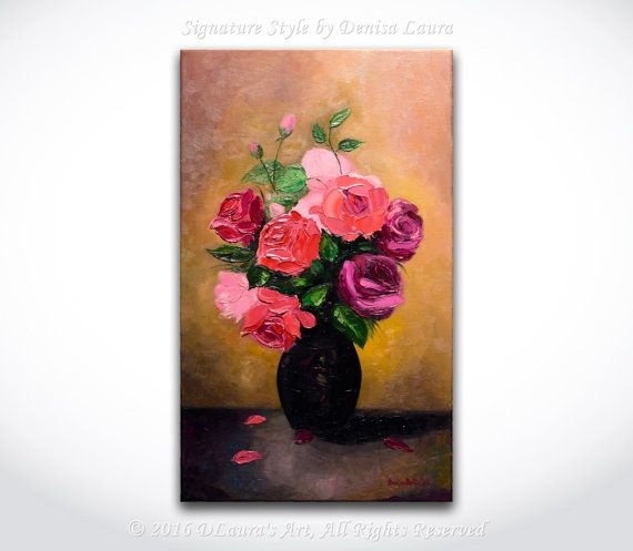 Hey, I found this really awesome Etsy listing at https://www.etsy.com/listing/483461939/vase-of-roses-original-modern-red-rose