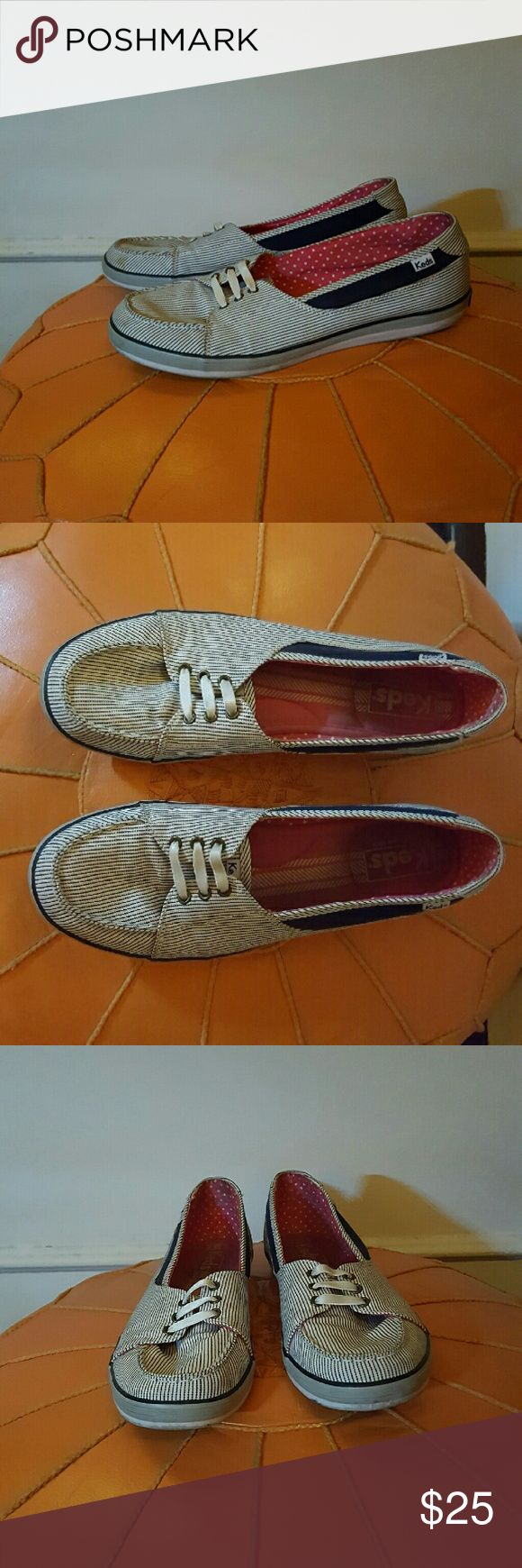 Keds boat shoes Cute Keds boat shoes. Red white and blue. Gently used in good condition. Keds Shoes Flats & Loafers
