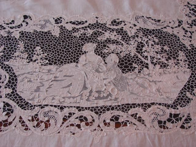ANTIQUE BANQUET TABLECLOTH ROMANTIC FIGURAL POINT DE VENISE BOBBIN LACE 92X138  | eBay