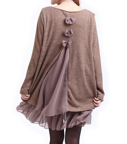 Casual Scoop Neck Long Sleeve Spliced Loose-Fitting Dress