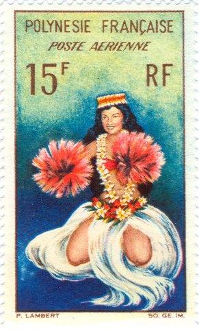 1964 Polinesia Francesa-Bailarina de Tahití en el Traje de fiesta.