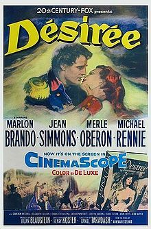 Désirée is a 1954 historical film biography made by 20th Century Fox. It was directed by Henry Koster and produced by Julian Blaustein from a screenplay by Daniel Taradash, based on the best-selling novel Désirée by Annemarie Selinko. The music score was by Alex North and the cinematography by Milton R. Krasner. The film was made in CinemaScope.  It stars Marlon Brando, Jean Simmons, Merle Oberon and Michael Rennie with Cameron Mitchell, Elizabeth Sellars, Charlotte Austin, Cathleen Nesbitt…