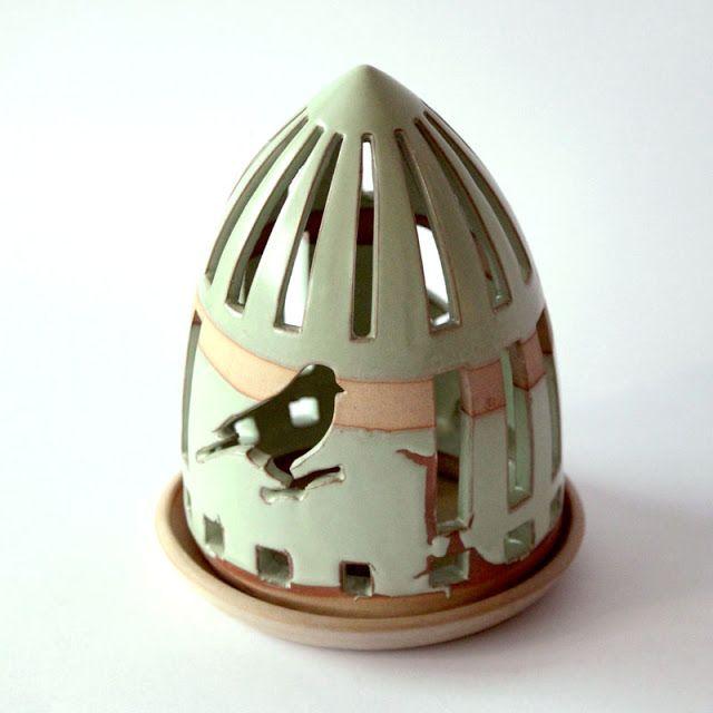 Anuhe. Portavelas de cerámica, hecho a mano. diseños  originales de Anuhe.
