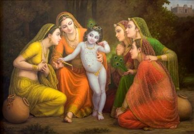 """""""He started early, He caught their eye.  In His presence they literally would fly.  Every mischief of His, they exclaimed,"""" Oh how cute!""""  He was the pied piper with His flute.  Broke innumerable matkas for butter  They settled for a sorry, their eyes aflutter.  They would flock around Him and sing.  He was Krishna, their King!""""  Artist: Gopal Khetanchi"""