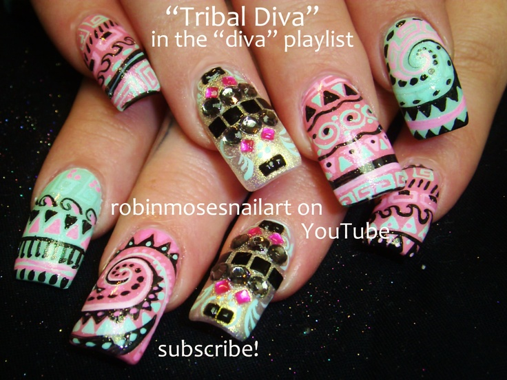 Nail-art by Robin Moses: color me rad nail art, color me rad nails, 5k run nails, tribal diva nails, extreme nails, crazy nail art, color me rad oregon, tribal nail art, tribal swirls, brightest nails, extra long nails, spring nail art, colored corn starch,