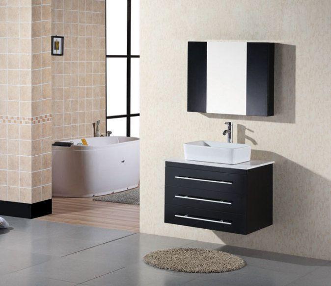 Design Element Elton Espresso Vessel Single Sink Oak Bathroom Vanity With  Natural Marble Top (Common: X Actual: X