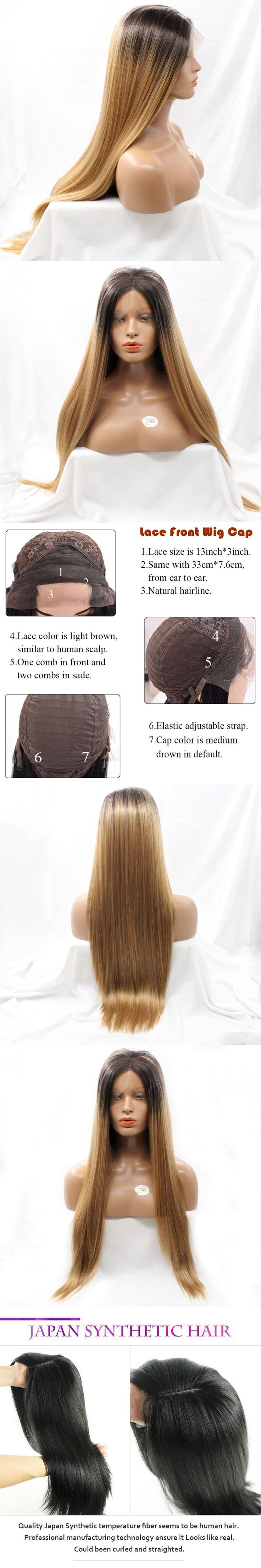 DLME Natural Straight Realistic Fiber #1 Jet Black Color Soft Synthetic Wigs With Widow's Peak Glueless Lace Front Wigs