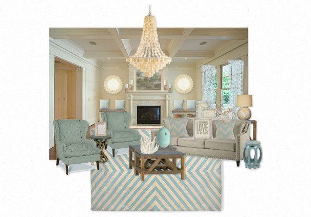 Coastal Inspiration Seaglass And Capiz Shell Living Room