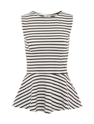 Black and White Stripe Peplum Top