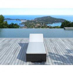 Profitez pleinement de l'été avec le bain de soleil transat 5 positions CORDOBA en résine tressée (noir, blanc/écru).
