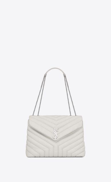 SAINT LAURENT Monogramme Loulou Woman medium loulou chain bag in dove white