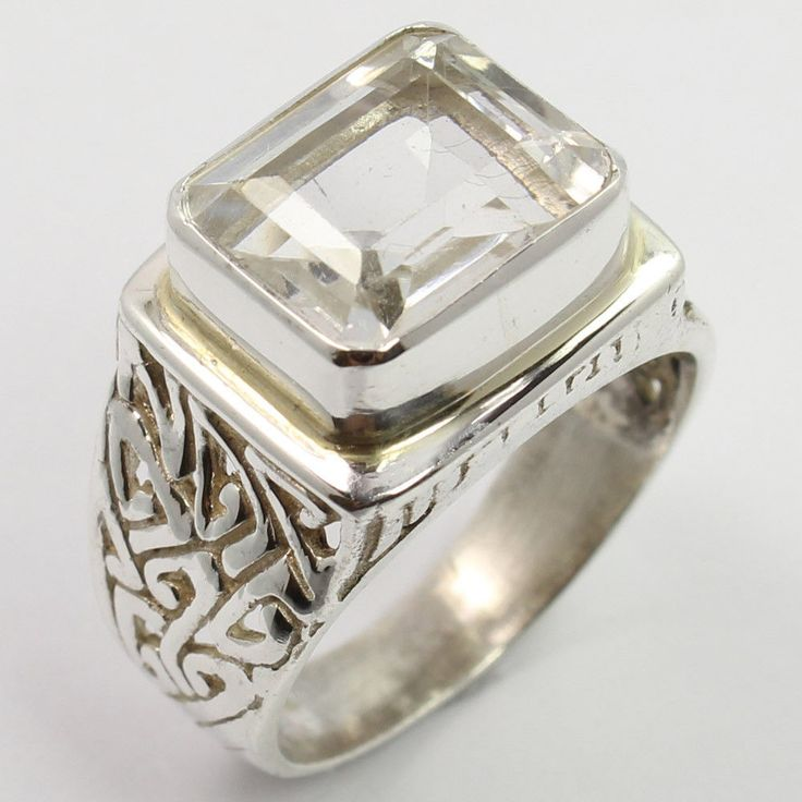 925 Sterling Silver Natural CRYSTAL QUARTZ Gemstone Men's Fashion Ring Size US 8 #Unbranded