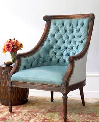 Old Hickory Chair Recovered With Tufted Turquoise Leather