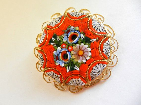 Wonderful Italian Floral micro mosaic Large Round by RAKcreations