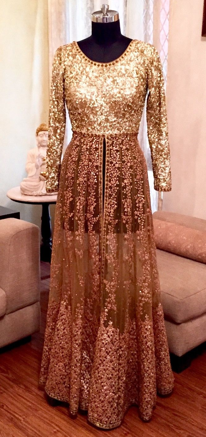 Sabyasachi Inspired Gold Sequin Lehenga