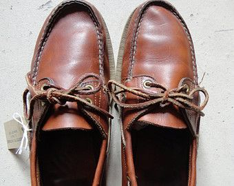 Vintage brown leather Timberland deck shoes US 11.5 Ivy League mod