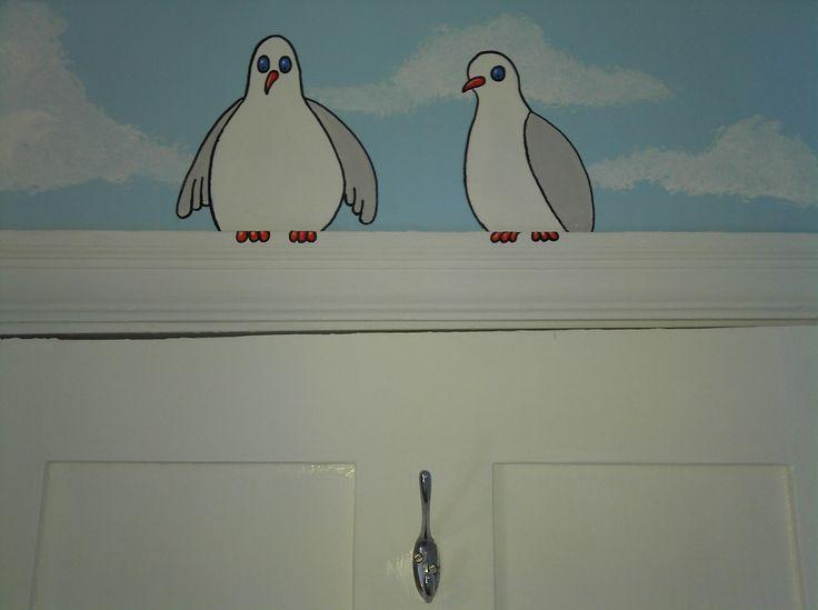 Fat Seagulls, on a door frame