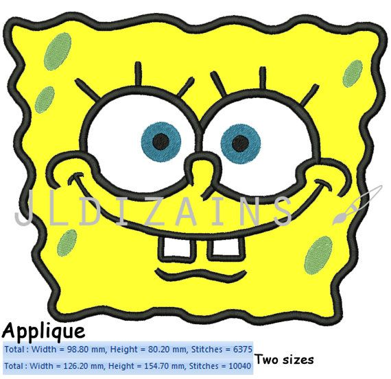 Hey, I found this really awesome Etsy listing at https://www.etsy.com/listing/207530257/spongebob-applique-machine-embroidery