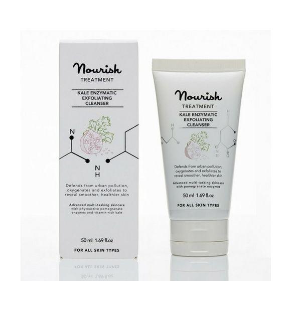 Oczyszczający peeling enzymatyczny z ekstraktem z jarmużu - Nourish, 50 ml  Wielofunkcyjny kosmetyk: dzięki własciwości peelingującej, delikatnie oczyszcza, a obecne w nim składniki charakterystyczne dla masek głęboko odżywiają skórę.