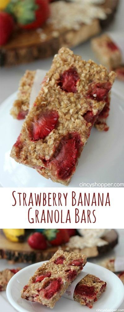 Strawberry Banana Granola Bars- super easy and healthy. Perfect for a lunchbox addition, a breakfast on the go or a snack