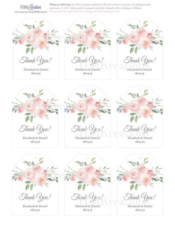 Blush Pink Floral Favor Tags Printable Wedding Gift Tag Template