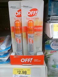 Great deal on Off! repellent at Walmart with one of the recent high value coupons!