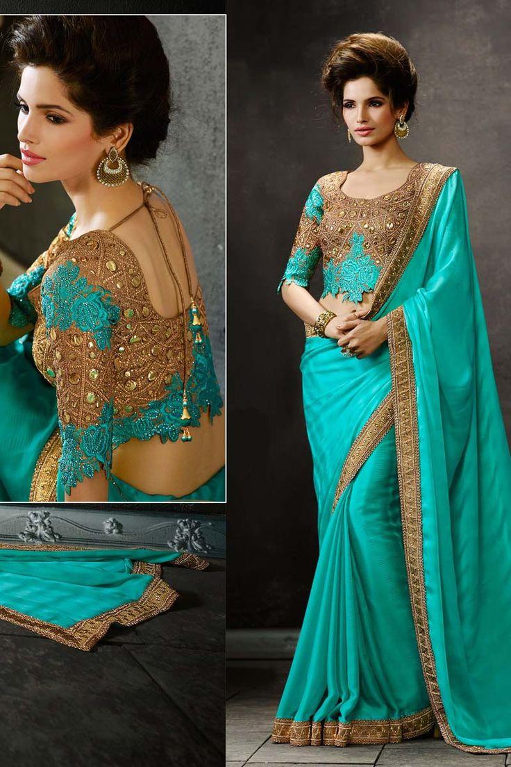 Blue Georgette Designer Saree | Sarees Online Shopping India