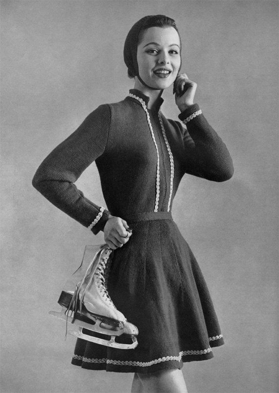 1950s Ice Skating Outfit  Vintage Knitting by nostalgiarules, $6.99