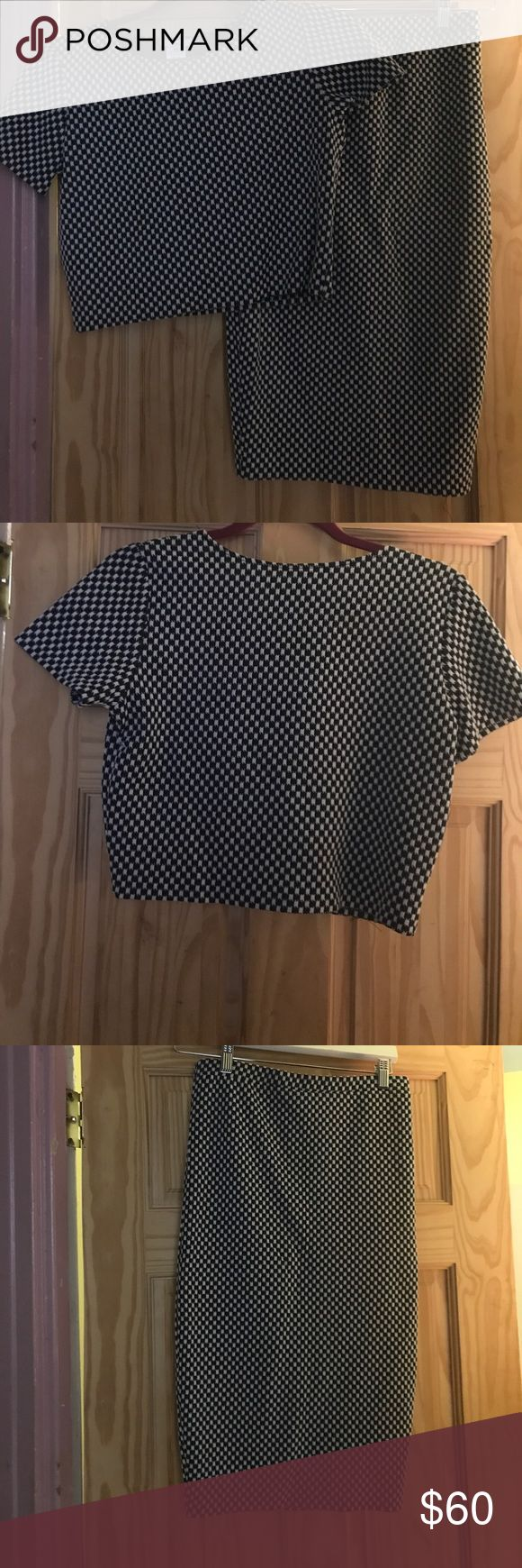 Crop top and pencil skirt set Black and white checkered pattern. Very on trend! Fitted items. Elastic stretch in waist band of skirt. Crop Tops falls right under bra strap length. Never worn, tags removed. Bar III Other