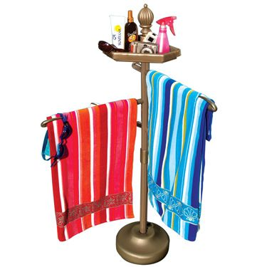 Outdoor towel holder pool and spa towel rack with for Outdoor towel caddy