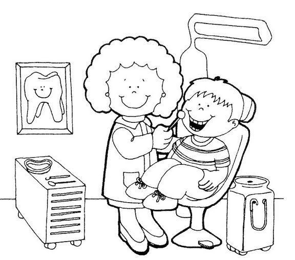 tandarts kleurplaat voor kleuters / dentista
