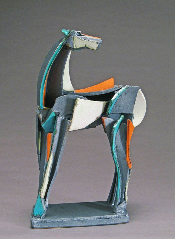 Turquoise & Red Slab Built Horse by Jeri Hollister