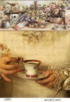 Рисовая бумага с рисунком DECORITI 100975, формат А4, Чашка чая