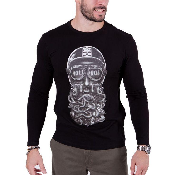REPLAY Ανδρική μαύρη μακρυμάνικη slim fit μπλούζα, τύπωμα
