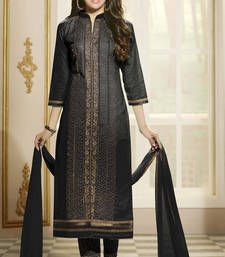 Buy Black embroidered Cotton unstitched salwar with dupatta dress-material online