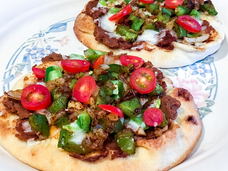 Our registered dietitian Leticia Nagata shares this Mexican pizza recipe for #HealthyGrinds:  This is a super easy recipe to put together for a lunch or snack. Refried beans can also be used as a dip or to substitute some of the meat in entrees. I also mix them in soups to get more soluble fiber in our meals.