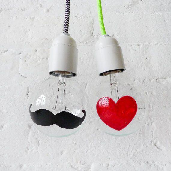 The I Heart Mustache Light Bulbs - Hand Painted Globe Bulb on Etsy, $124.49