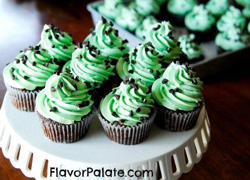 Mint Chocolate Chip Cupcakes   Cake stuff   Pinterest